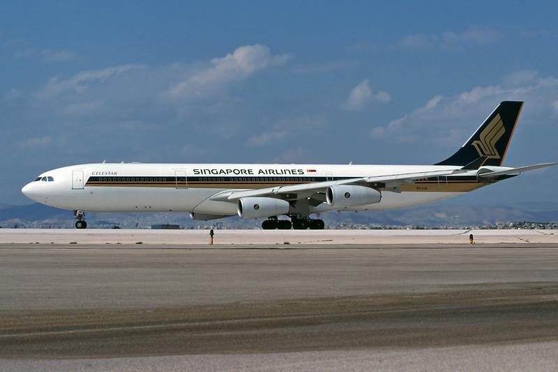 9V-SJN Airbus A340-313X c/n 236 Athens-Hellenikon/LGAT/ATH 24-09-00 (35mm slide)