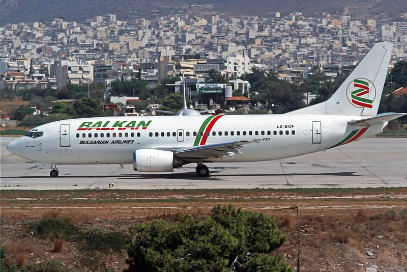 "LZ-BOF Boeing 737-3M8 ""Balkan Bulgarian Airlines"" c/n 25017 Athens-Hellenikon/LGAT/ATH 21-09-00 (35mm slide)"