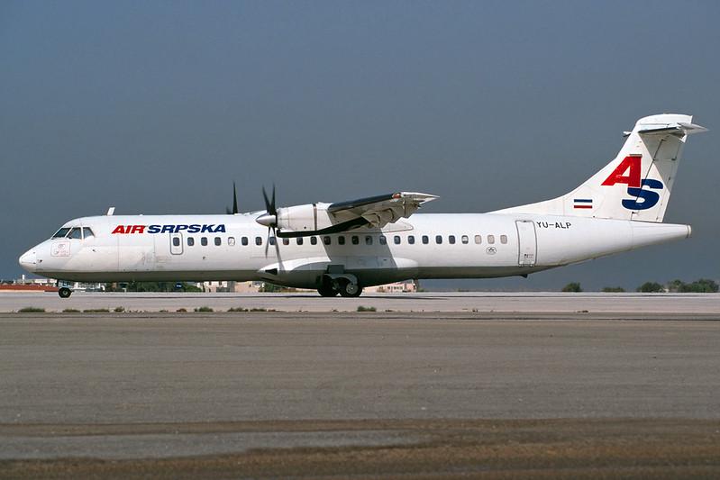 "YU-ALP Aerosptatiale ATR-72-201 ""Air Srpska"" c/n 189 Athens-Hellenikon/LGAT/ATH 20-09-00 (35mm slide)"