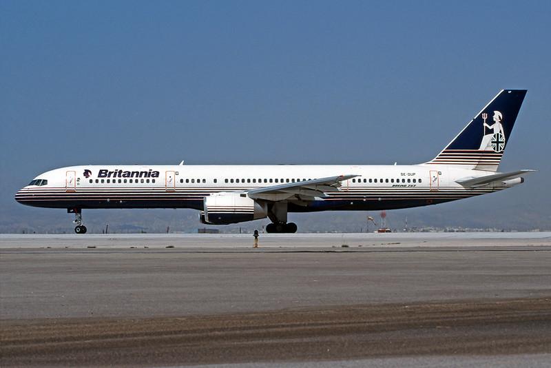 """SE-DUP Boeing 757-236 """"Britannia Airways AB"""" c/n 24793 Athens-Hellenikon/LGAT/ATH 22-09-00 (35mm slide)"""