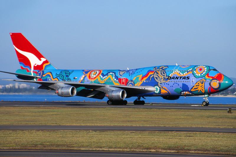 "VH-EBU Boeing 747-338 c/n 23223 Sydney-Kingsford Smith/YSSY/SYD 02-05-99 ""Nalanji Dreaming"" (35mm slide)"
