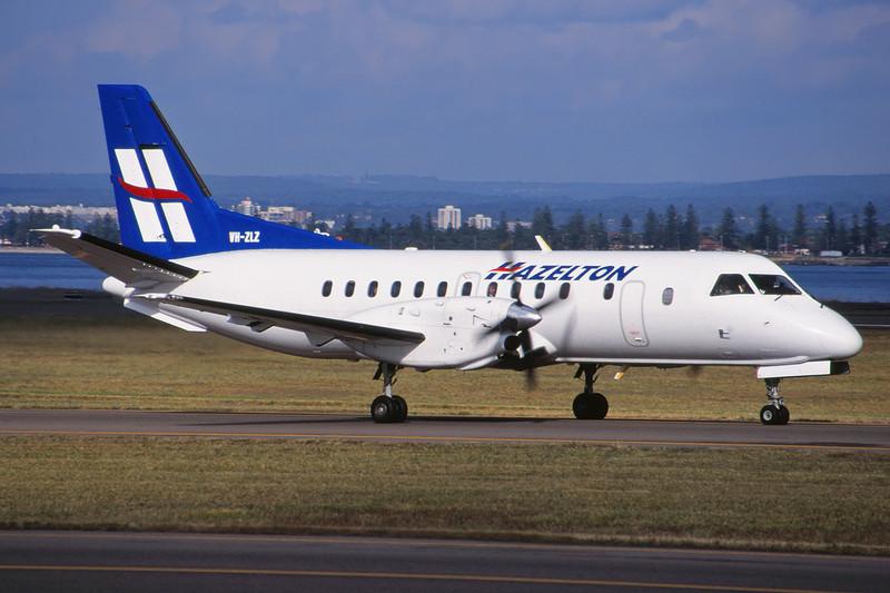 """VH-ZLZ SAAB 340A """"Hazelton Airlines"""" c/n 038 Sydney-Kingsford Smith/YSSY/SYD 02-05-99 (35mm slide)"""