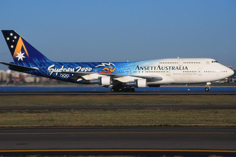 """VH-INJ Boeing 747-312 c/n 23029 Sydney-Kingsford Smith/YSSY/SYD 02-05-99 """"Sydney 2000"""" (35mm slide)"""