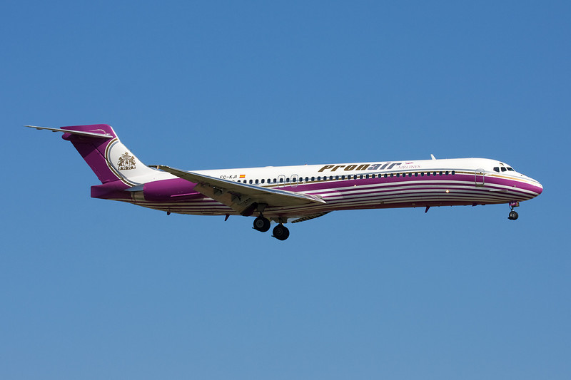 "EC-KJI Douglas MD-87 ""Pronair Airlines"" c/n 49836 Barcelona-El Prat/LEBL/BCN 29-06-08"