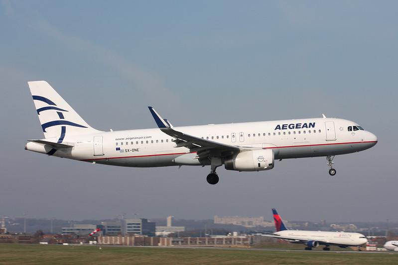SX-DNE Airbus A320-232 c/n 7014 Brussels/EBBR/BRU 26-03-17