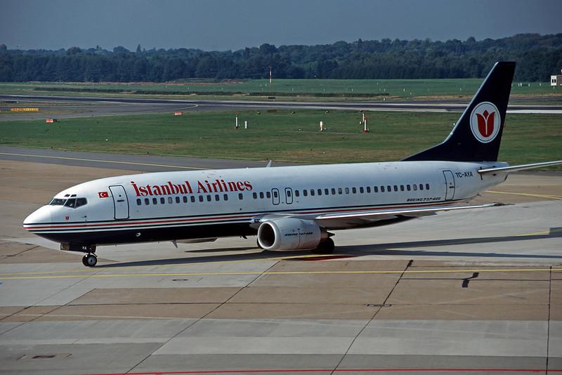 "TC-AYA Boeing 737-4Y0 ""Istanbul Airlines"" c/n 24683 Hamburg/EDDH/HAM 17-09-95 (35mm slide)"