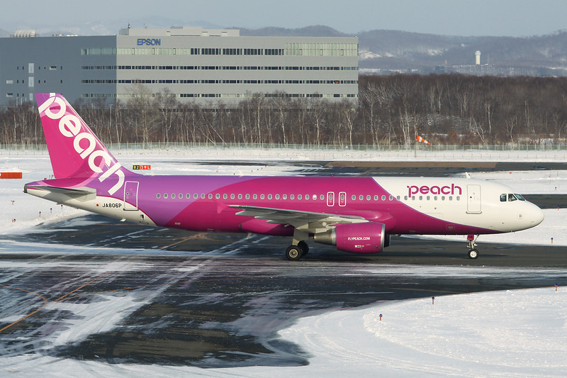 "JA806P Airbus A320-214 ""Peach"" c/n 5384 Sapporo-New Chitose/RJCC/CTS 09-03-13"