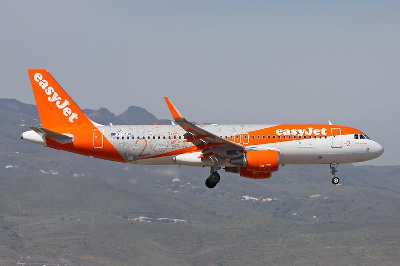 """G-EZOX Airbus A320-214 c/n 6837 Las Palmas/GCLP/LPA 03-02-16 """"20 Years"""""""