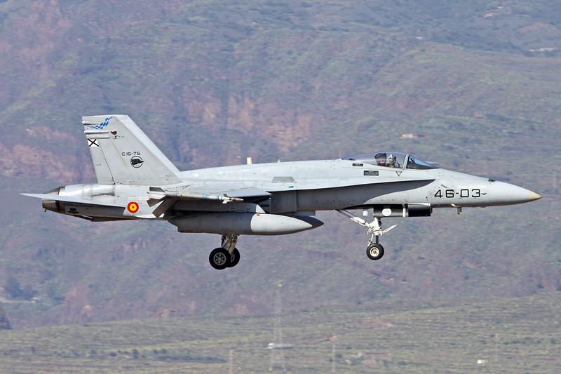 "C.15-75 (46-03) McDonnell-Douglas F/A-18A Hornet ""Spanish Air Force"" c/n A-201 Las Palmas/GCLP/LPA 05-02-16"