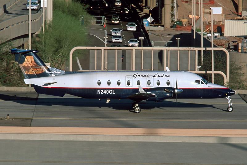 """N240GL Beech 1900D """"Great Lakes Airlines"""" c/n UE-240 Phoenix-SKy Harbor/KPHX/PHX 14-03-04 (35mm slide)"""