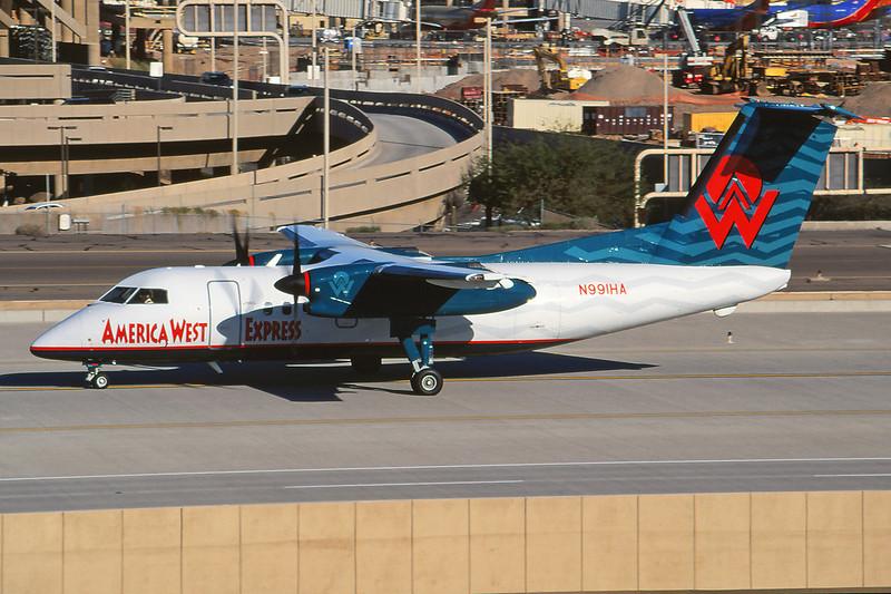 N991HA de Havilland Canada DHC-8-202 c/n 431 Phoenix-Sky Harbor/KPHX/PHX 12-03-04 (35mm slide)