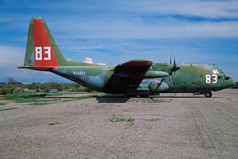 """N132FF (83) Lockheed C-130A Hercules """"Aerofirefighting Service"""" c/n 3119 Chandler-Memorial 13-03-04 (35mm slide)"""
