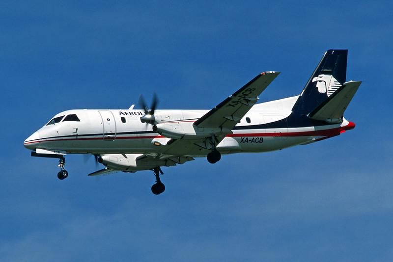 """XA-ACB SAAB SF.340B """"Aerolittoral"""" c/n 179 Los Angeles/KLAX/LAX 080304 (35mm slide)"""