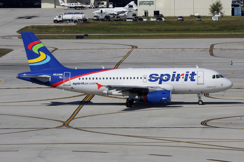 """N534NK Airbus A319-132 """"Spirit Airlines"""" c/n 3395 Fort Lauderdale-International/KFLL/FLL 02-12-08"""