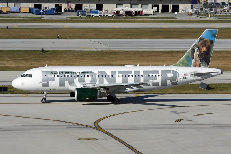"N931FR Airbus A319-111 c/n 2253 Fort Lauderdale-International/KFLL/FLL 02-12-08 ""Young Bear"""