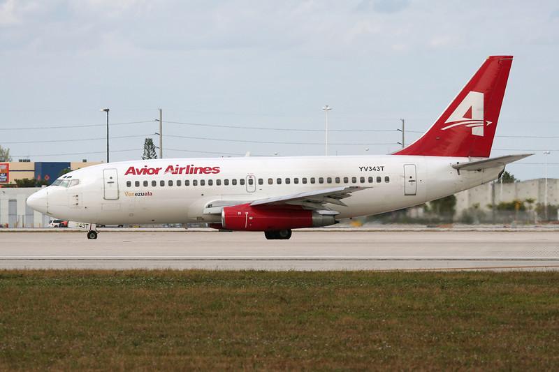 """YV343T Being 737-232Adv """"Avior Airlines"""" c/n 23101 Miami/KMIA/MIA 04-12-08"""