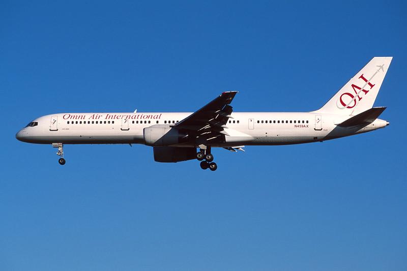 """N459AX Boeing 757-28A """"Omni Air International"""" c/n 25621 Las Vegas/KLAS/LAS 10-03-04 (35mm slide)"""