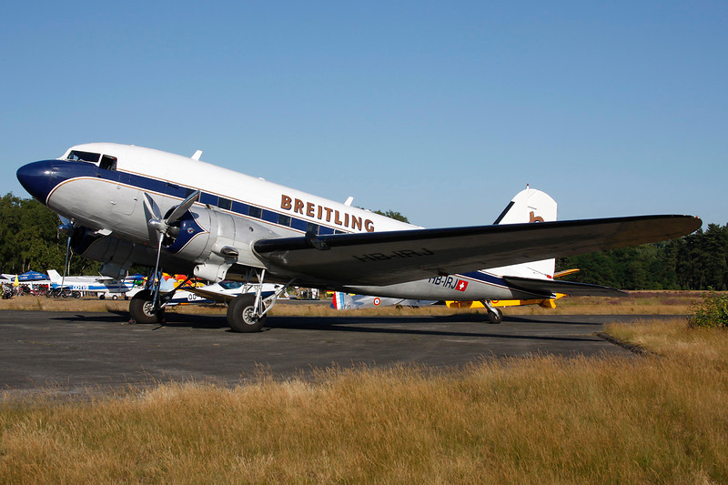 "HB-IRJ Douglas DC-3A ""Super Constellation Flyers Association"" c/n 2204 Zoersel/EBZR 18-08-12 ""Breitling"""