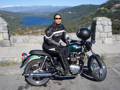 2007 Triumph Bonneville with Stacie at Donner Lake