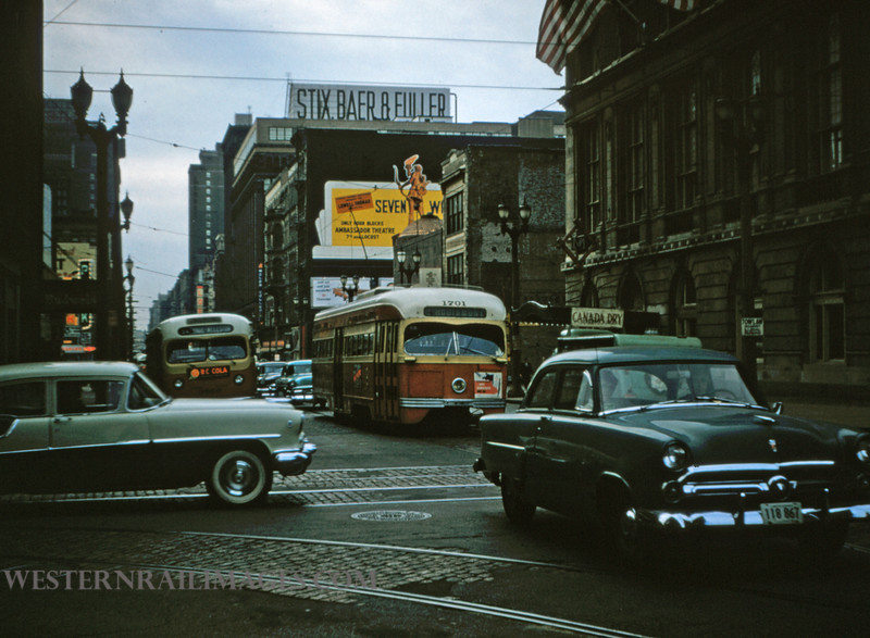 PSCO 176 - Nov 2 1956 - PCC car 1701 EB on Washington Ave at 4th st on Hodiamont Line - St Louis MO