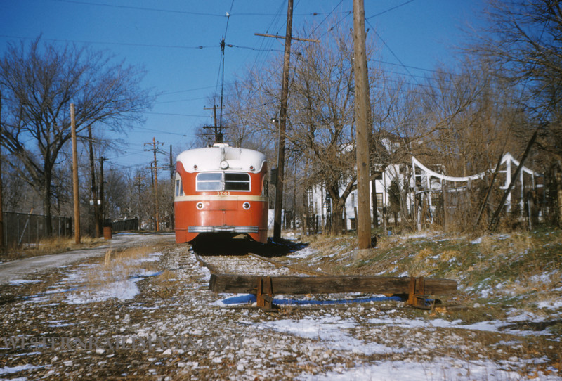 PSCO 62 - Jan 13 1955 - rear of pcc car 1741 at of route 14 University Calyton Line - St Louis MO