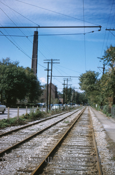 PSCO 137 - Oct 14 1955 - looking west along University line streetcar tracks along Millbrook Blvd - St Louis MO