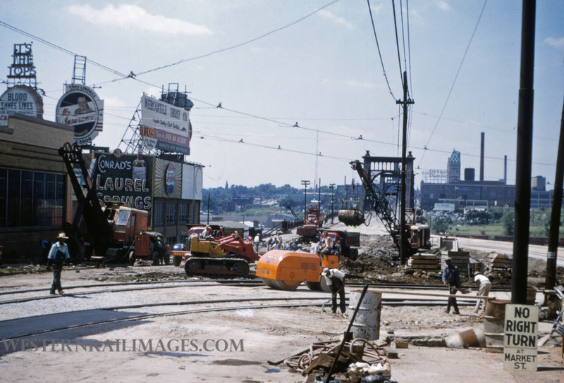 PSCO 129 - Jun 28 1955 - looking S at Grand & Market - St Louis MO