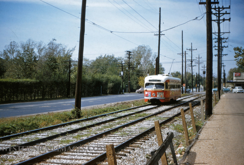 PSCO 51 - Oct 19 1954 - pcc car 1720 headed east from Big Bend Loop on University line - St Louis MO