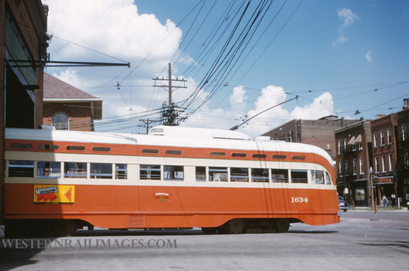 PSCO 21 - Sep 18 1954 - PCC 1634 at S Broadway Barns built by St Louis Car in 1941 - St Louis MO