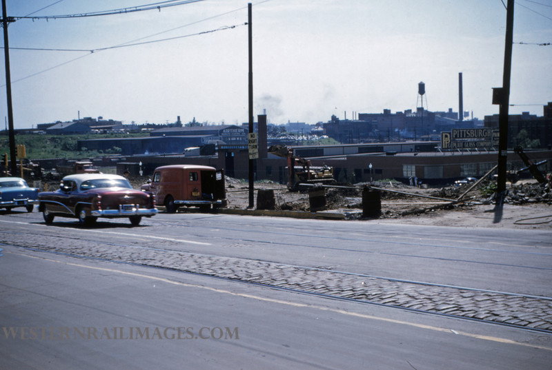 PSCO 110 - May 30 1955 - looking southwest at shoofly construction at Grand & Market - St Louis MO