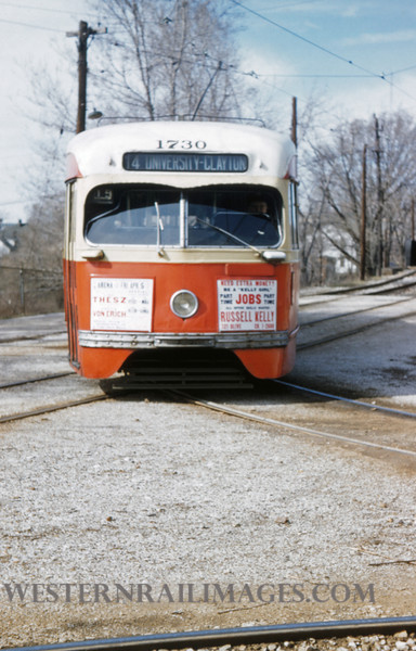 PSCO 197 - Mar 29 1957 - Car 1730 turning on Walinca Wye Rt 14 - St Louis MO