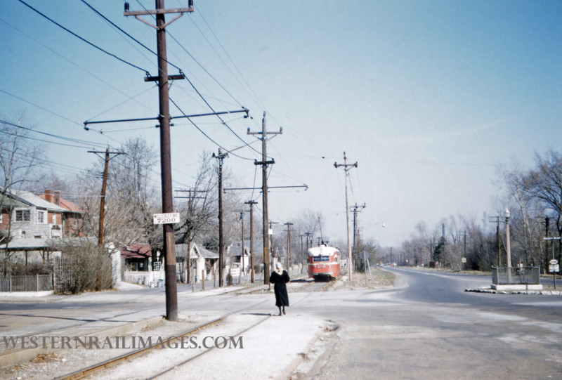 PSCO 194 - Mar 20 1957 - PCC car eb on millbrook from Wellsley U City