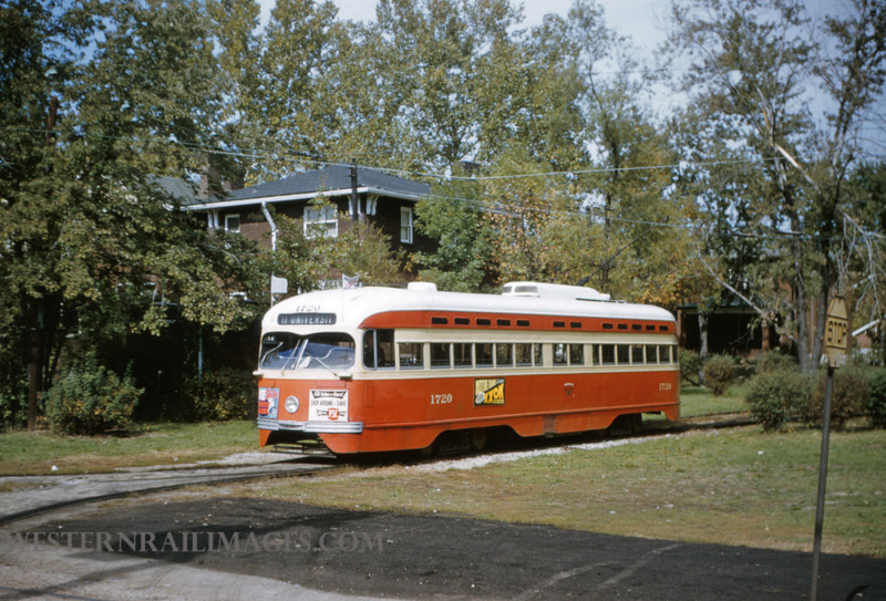 PSCO 50 - Oct 19 1954 - pcc car 1720 at Big Bend Loop on University Line - St Louis MO