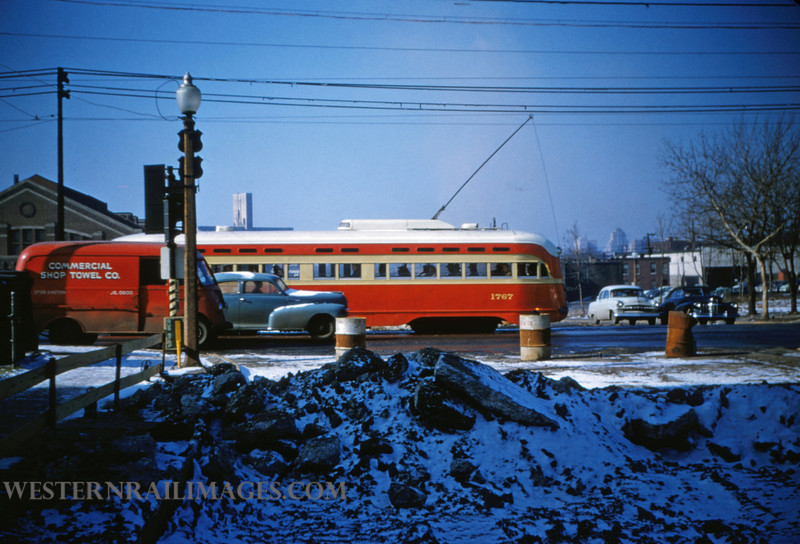 PSCO 58 - Jan 13 1955 - pcc car 1767 sb on Grand Ave looking west - St Louis MO
