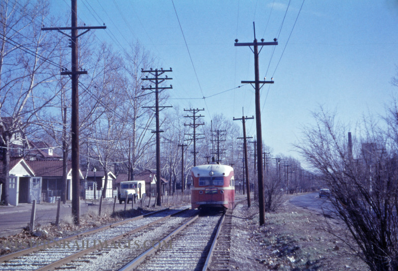 PSCO 223 - Jan 6 1958 - pcc car 1736 EB E of Big Bend Blvd on University Line - St Louis MO