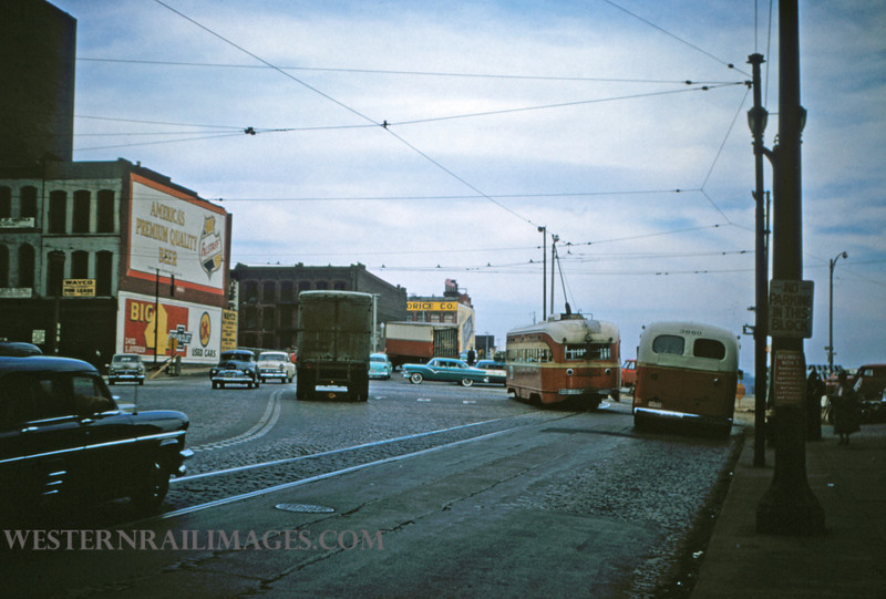 PSCO 178 - Nov 2 1956 - pcc car 1701 & bus 3660 at 3rd & Washington - St Louis MO