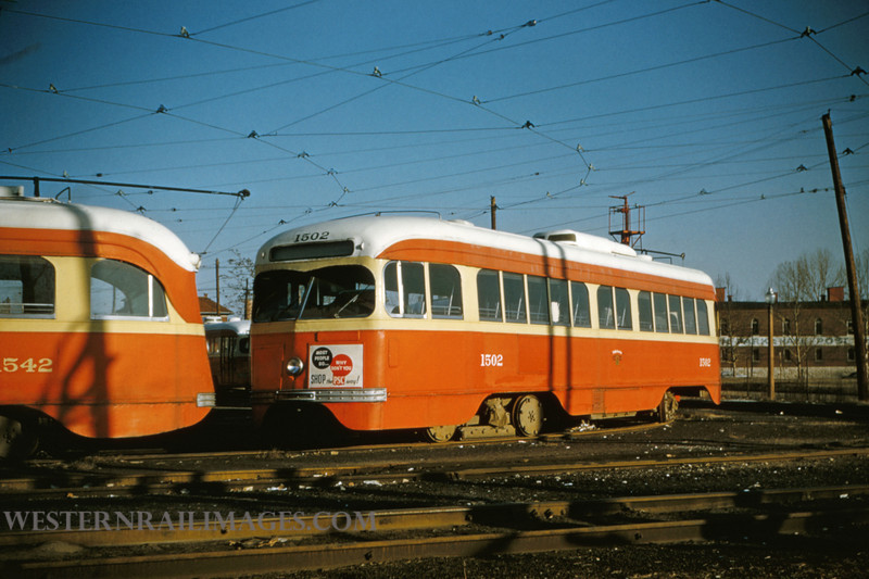 PSCO 68 - Mar 1 1955 - PCC car 1502 at S Broadway Division built by St Louis Car Co
