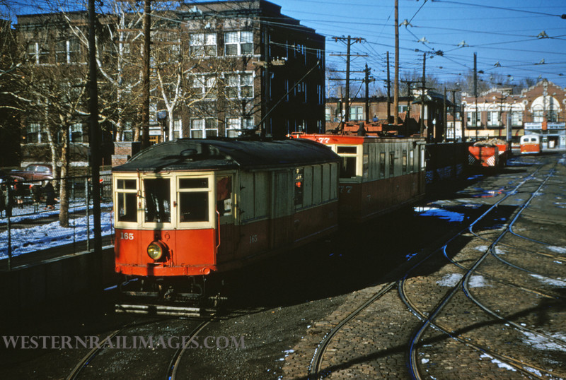 PSCO 60 - Jan 13 1955 - work cars 165 & 77 at DeBalivere sheds - St Louis MO