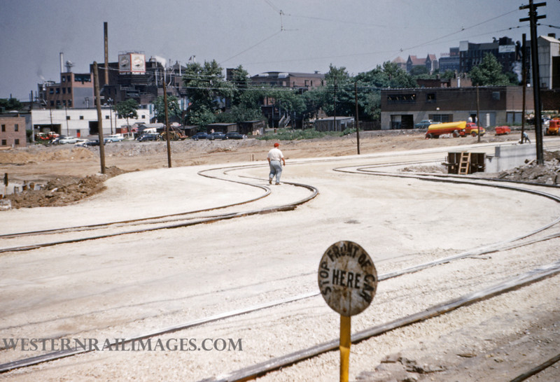 PSCO 120 - Jun 28 1955 - looking north at Grand & Market St Louis MO