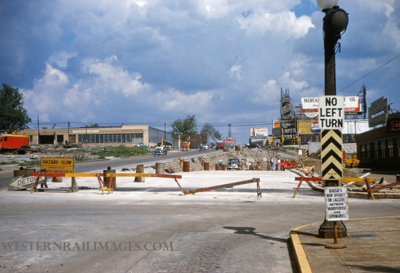 PSCO 104 - May 16 1955 - looking east on Market toward Grand - St Louis MO