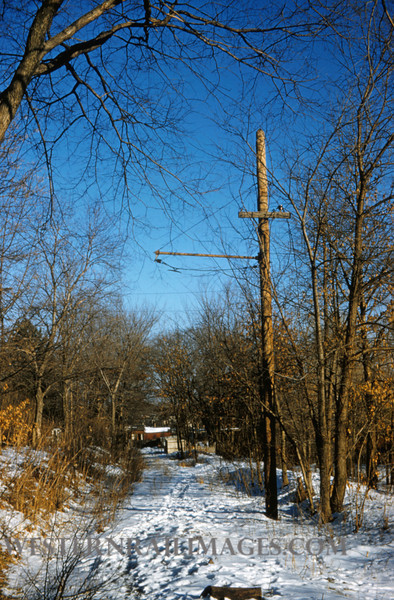 PSCO 228 - Feb 7 1958 - pole & R of W on old Clayton line MO
