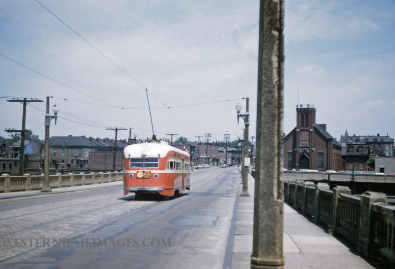 PSCO 215 - May 30 1957 - pcc car headed north on Jefferson Ave Viaduct - St Louis MO
