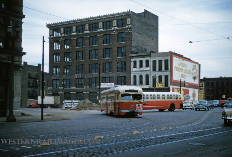 PSCO 179 - Nov 2 1956 - pcc car 1701 & bus 3660 at 3rd & Washington - St Louis MO