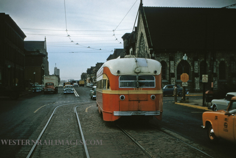 PSCO 181 - Nov 2 1956 - pcc car 1747 wb on Washington at Leffingwell on Hodiamont - St Louis MO