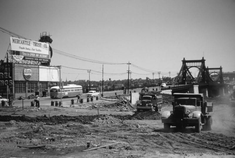 PSCO 109 - May 30 1955 - looking south at Grand & Market during shoo-fly construction - St Louis MO