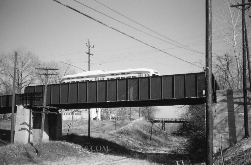 PSCO 61 - Jan 13 1955 - pcc car 1741 crossing bridge over old Rock Island in Clayton - St Louis MO