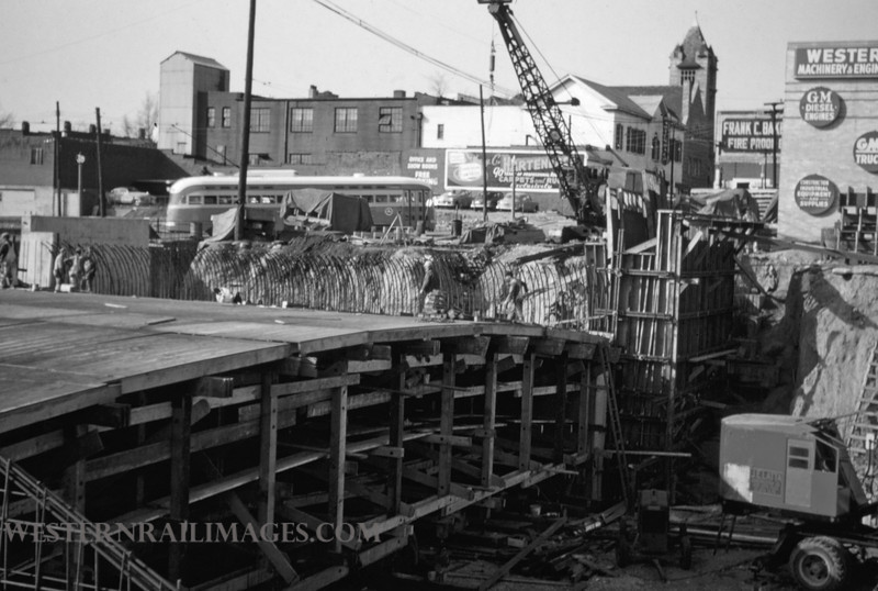 PSCO 146 - Mar 28 1956 - looking north at Grand & Market construction - St Louis MO