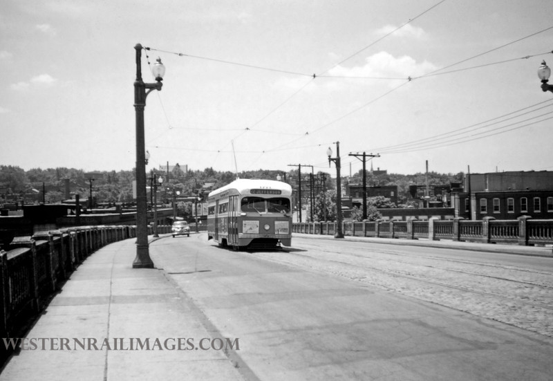PSCO 214 - May 30 1957 - pcc car headed north on Jefferson Ave Viaduct - St Louis MO