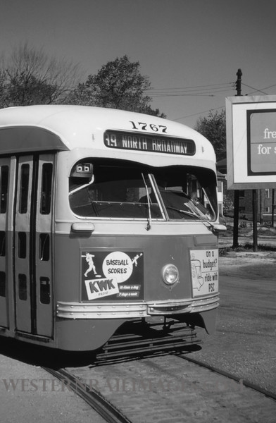 PSCO 98 - Apr 29 1955 - Car 1767 on 39 North Broadway line end of line - St Louis MO
