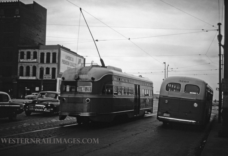 PSCO 177 - Nov 2 1956 - pcc car 1701 & Bus 3660 at Washington & Third St - St Louis MO